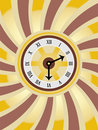 Clock Swirl Gold Brown Vector Stock Image