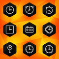 Clock and Time. Hexagonal icons set Stock Images