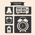 Clock and time icons over dotted background vector illustration Stock Photo