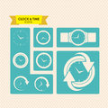 Clock and time icons over dotted background vector illustration Royalty Free Stock Photos
