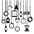 Clock and time icons over white background vector illustration Stock Photography