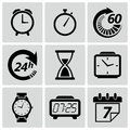 Clock And Time Icons. Vector I...