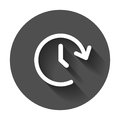 Clock tome vector icon. Timer 24 hours sign illustration on black round background with long shadow.