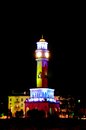 Clock tower in batumi georgia at night Stock Photos