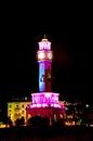 Clock tower in batumi georgia at night Stock Photo