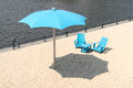 Clock Tower Beach Old Port in Montreal Canada Two blue chairs wi Royalty Free Stock Photo