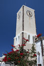 Clock tower on blue sky, Greece Royalty Free Stock Photography
