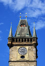 Clock tower, blue sky, old Prague Royalty Free Stock Photography
