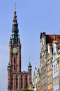 Clock tower buildings long market street old town gdansk Stock Photography