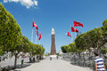 The clock tower in the capital city of tunisia sunny day Stock Photos