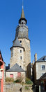 Clock tower on church dinan france historic city center of a bretagne Royalty Free Stock Photography