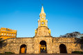 Clock tower gate the historic is the main entrance into the old city of cartagena colombia Royalty Free Stock Images