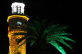 Clock tower and green palm trees in izmir turkey Royalty Free Stock Photography