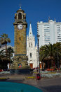 Clock tower historic in armas square in the port city of antofagasta chile Royalty Free Stock Photos