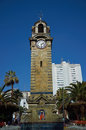 Clock tower historic in armas square in the port city of antofagasta chile Royalty Free Stock Image