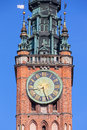 Clock on the tower historical of town hall in gdansk poland Stock Photos