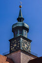 Clock tower in hofgarten munich a green copper bavaria germany Royalty Free Stock Photography