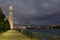 Clock Tower and Jacques Cartier Bridge Royalty Free Stock Photo