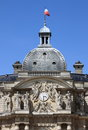 Clock tower of luxemburg palace in paris france Stock Image