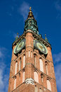 Clock tower of main town hall in gdansk the old poland Stock Image