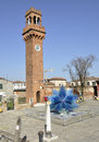 Clock tower in murano island venice near where craftsmen produce artistic glass Stock Photography