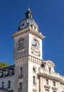 Clock tower of neoclassical church biarritz it is a vertical image on a sunny day Royalty Free Stock Photos