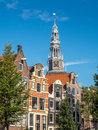 Clock tower of Old church in Amsterdam Royalty Free Stock Photo