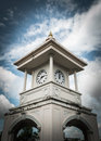 Clock tower phuket thailand with cloudy sky Stock Photo