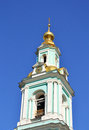 Clock tower of russian church Stock Photo