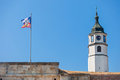 Clock tower sahat kula in belgrade fortress serbia Royalty Free Stock Image