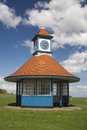 Clock tower and shelter frinton essex england on the greensward at Stock Image