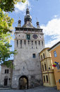 Clock tower in sighișoara romania dating back to the fortified citadel of one of the most beautiful and continuously inhabited Royalty Free Stock Photography