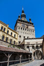 The clock tower in sighisoara front entrance to citadel of and also known as council which is s main Royalty Free Stock Images