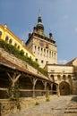 Clock tower in sighisoara medieval romania transylvania Stock Photo