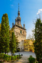 Clock tower in sighisoara transylvania historic center of romania Royalty Free Stock Photography
