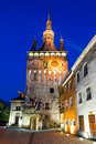Clock tower in sighisoara transylvania was built to protect the main gate of medieval city and host the city council the archives Royalty Free Stock Photography