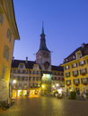 The clock tower of solothurn switzerland september dawn at on september in switzerland this was Stock Photography