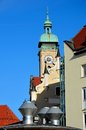 Clock tower and spires Munich Germany Royalty Free Stock Photography