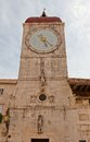 Clock tower of st sebastian church trogir croatia saint circa in world heritage site unesco Stock Photos
