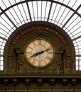 Clock in train station Royalty Free Stock Photography