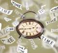 Clock and watch concept with time flying away on paper Royalty Free Stock Images