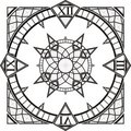 Clock Watch Gothic Tattoo Compass Vector Stock Images