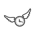 Clock wings circle time traditional icon. Vector graphic
