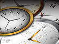 Clocks background different types of clock faces illustration Stock Image