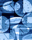 Clocks in blue Stock Image