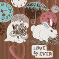 Clocks, rabbits and love Stock Photos