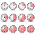 Clocks showing different time Stock Photo