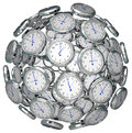 Clocks in sphere time keeping past present future many a ball or to illustrate the or passing of the and or urgency or Royalty Free Stock Photo