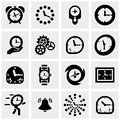 Clocks vector icons set on gray Royalty Free Stock Photo