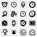 Clocks vector icons set on gray Royalty Free Stock Photo
